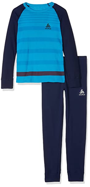 Odlo Niños Set Warm Print Kids Camiseta L/S Pants Long Juego de Ropa Interior