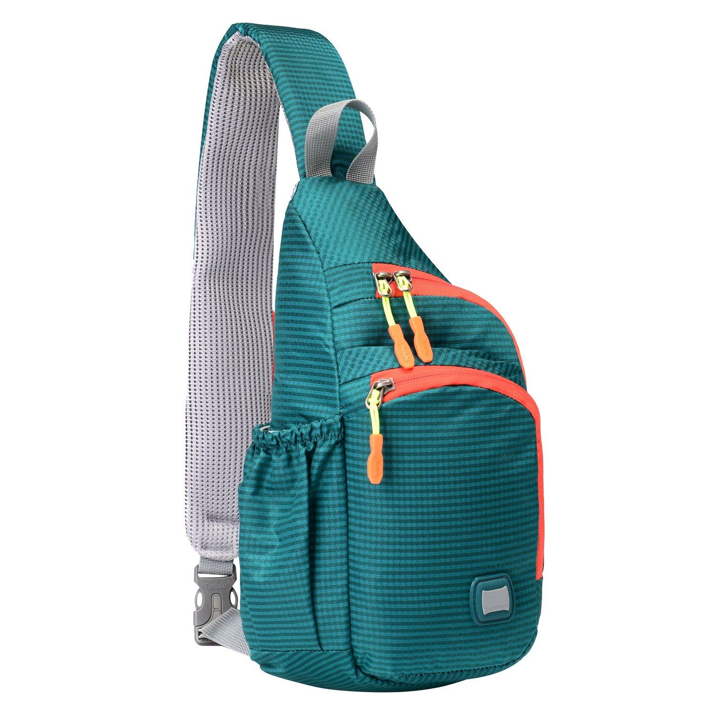 Lecxci Outdoor Chest Sling Shoulder Bag, [Ultra-Lightweight Waterproof Nylon] [Hiking Cycling Camping Travel] Sling Shoulder Chest Daypack Backpack Bag for Man/Women/Teen Girls/Kids(Cyan-Blue)