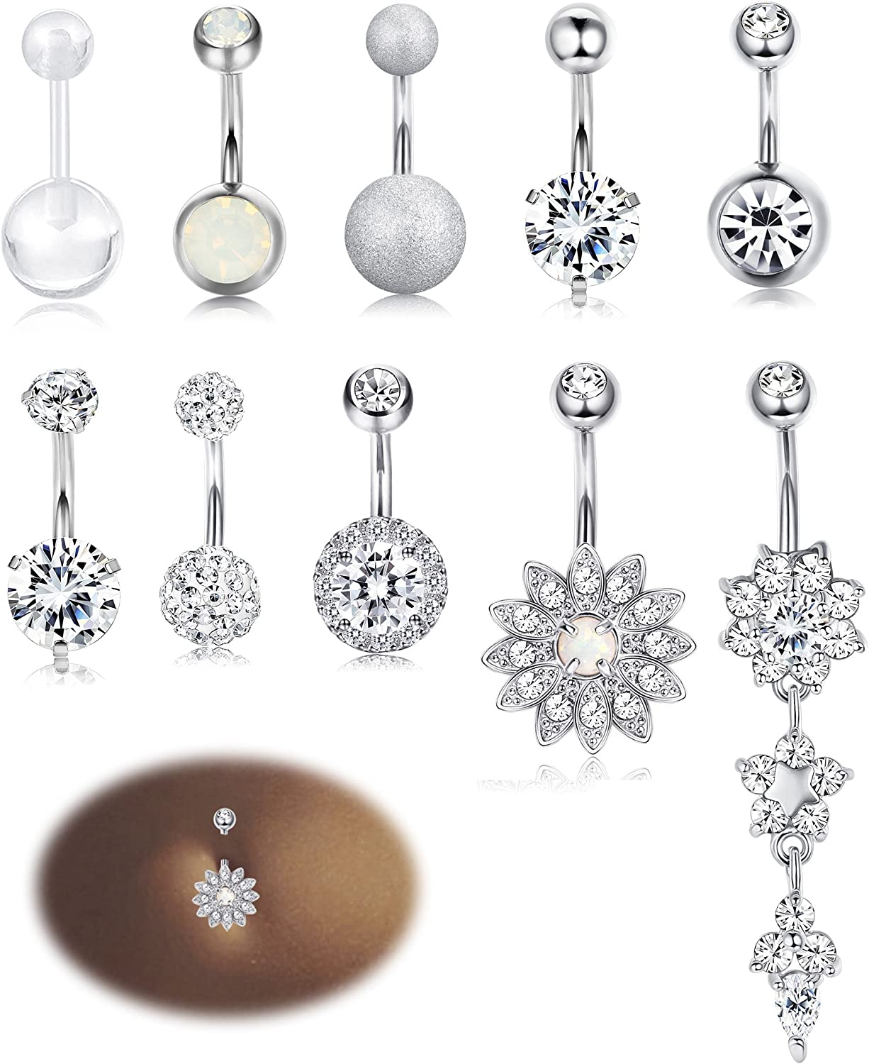 Amazon Com Milacolato 10pcs Stainless Steel Belly Button Rings