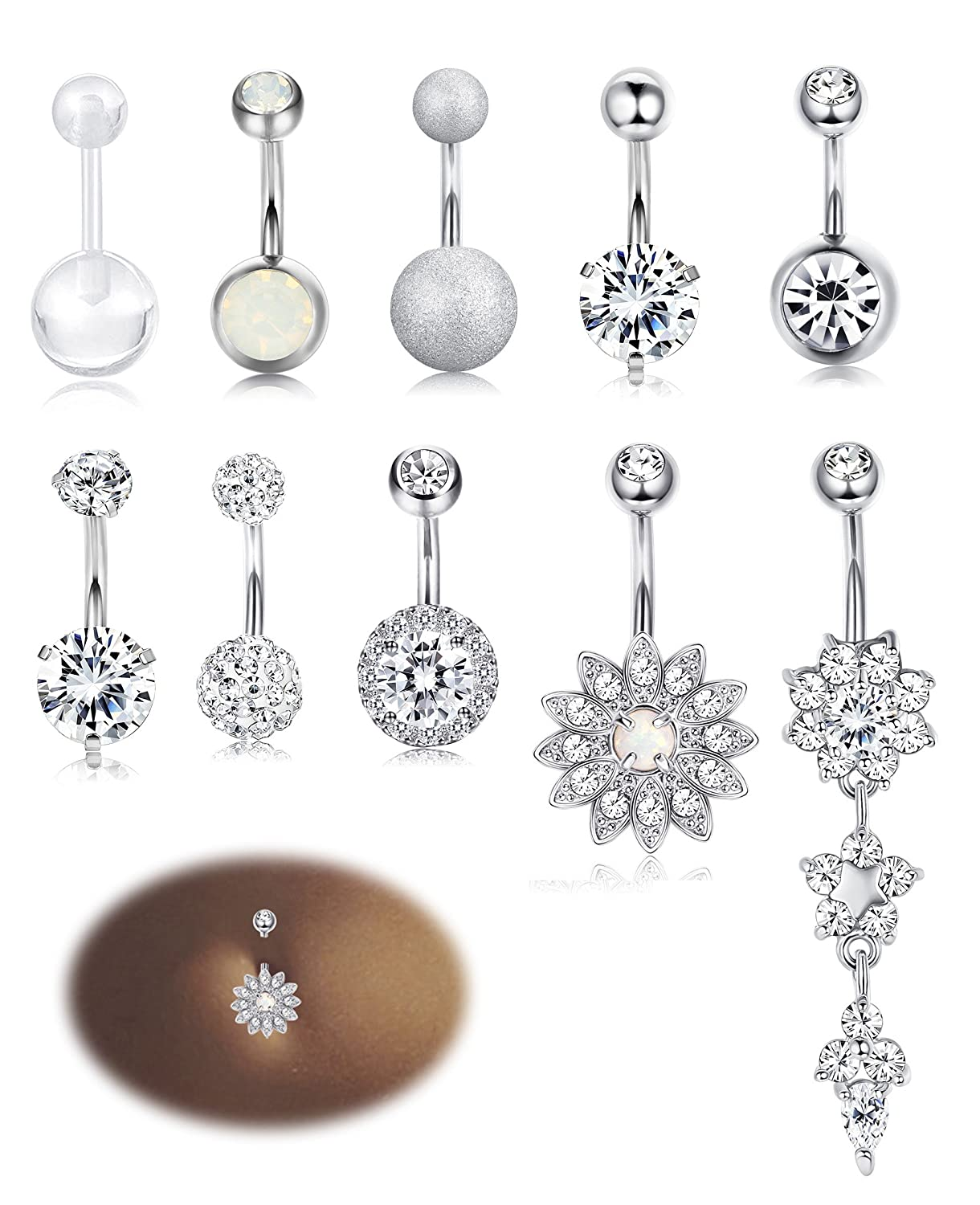 Milacolato 10 12pcs Stainless Steel Belly Button Rings For Womens Girls Navel Rings Barbell Dangle Acrylic Cz Body Piercing Jewelry