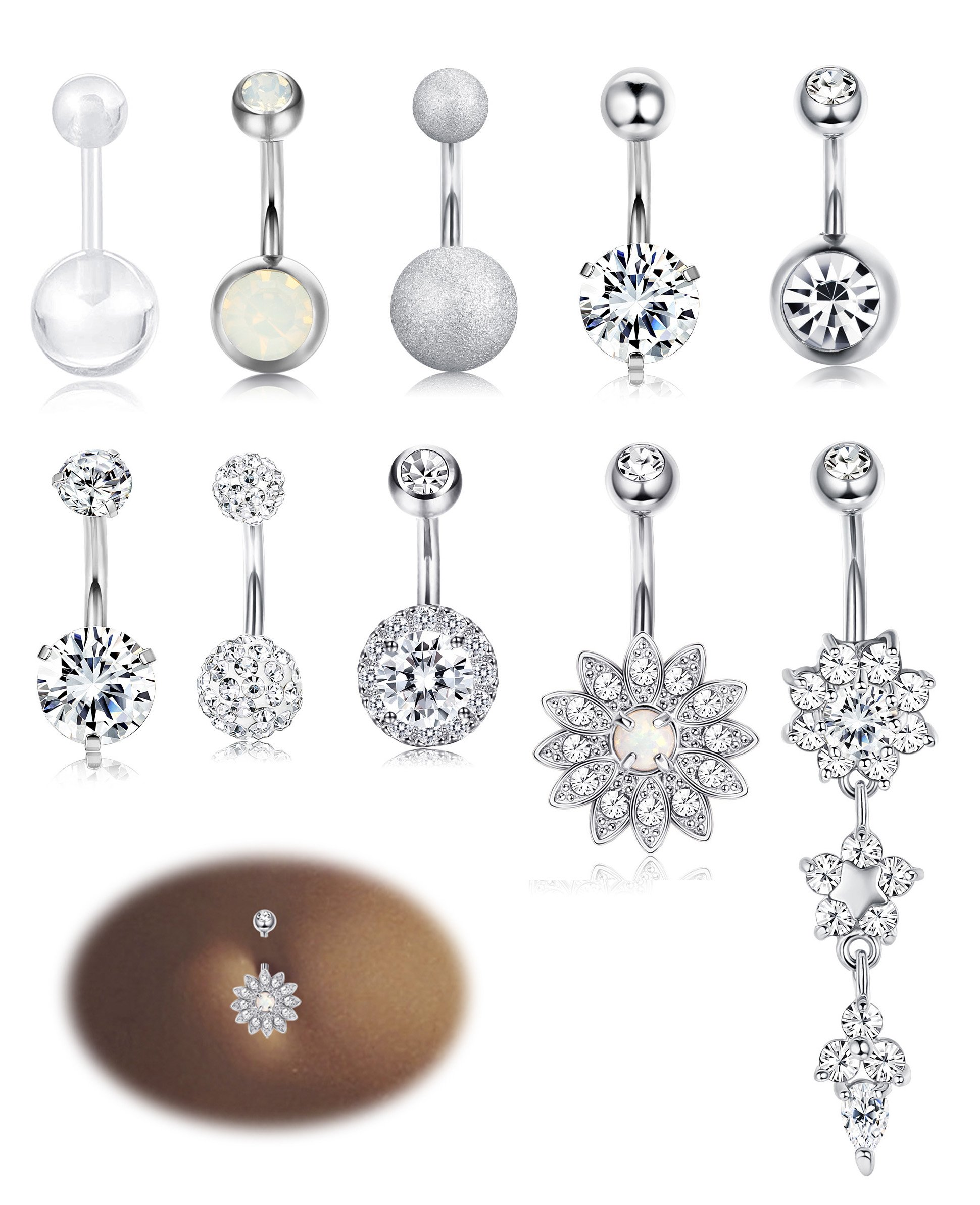 Milacolato 10PCS Stainless Steel Belly Button Rings for Womens Girls Navel Rings Barbell Dangle Acrylic CZ Body Piercing Jewelry White
