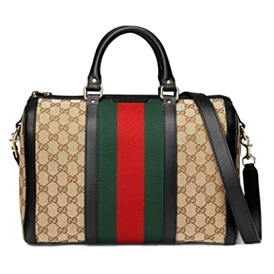 be1abaf307c Amazon.com  Gucci Beige Brown GG Canvas Vintage Web Boston Bag 247205 9791   Clothing