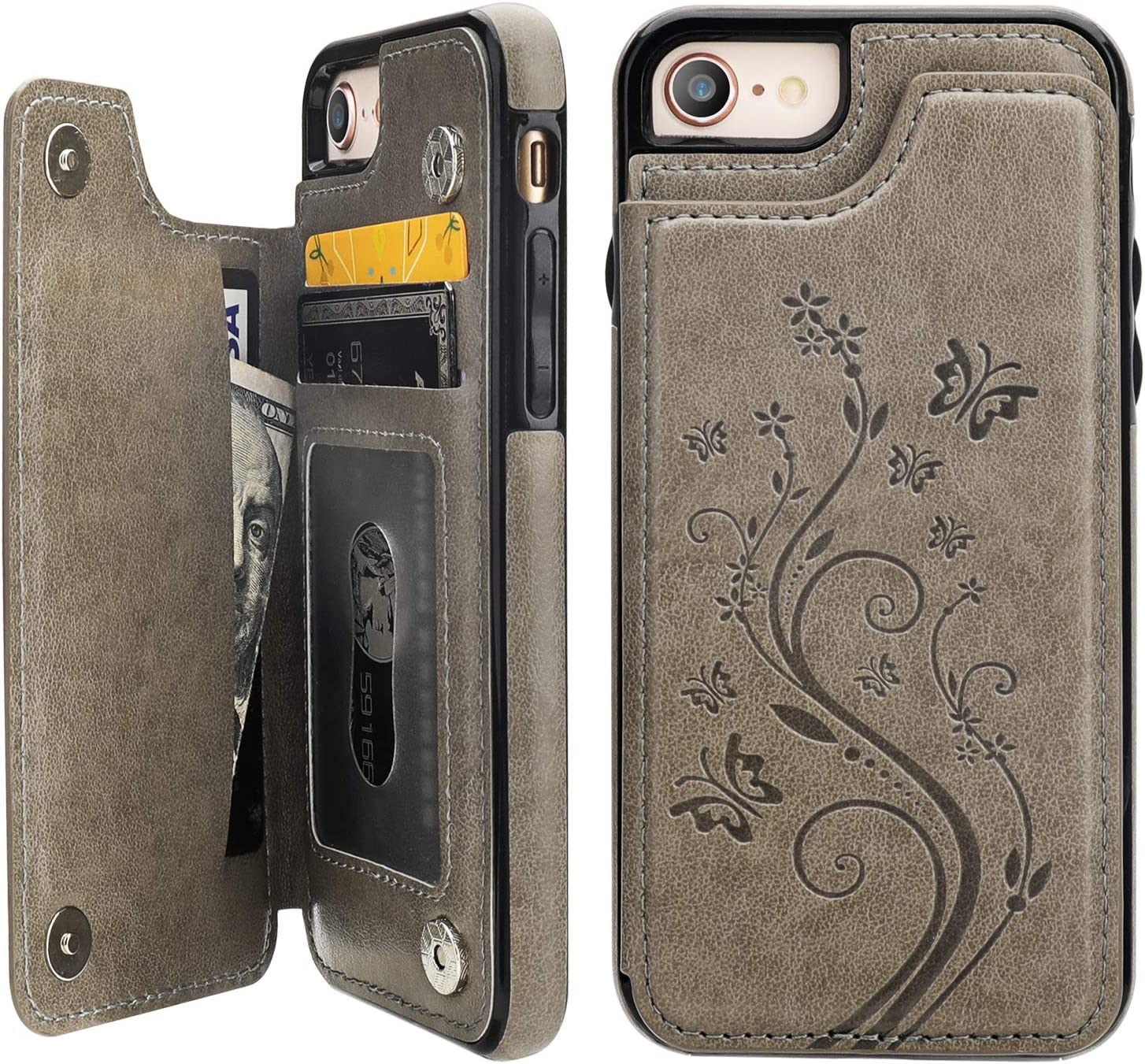 Vaburs iPhone 7 iPhone 8 iPhone SE 2020 Case Wallet with Card Holder, Embossed Butterfly Premium PU Leather Double Magnetic Buttons Flip Shockproof Protective Cover for iPhone 7/8/SE 2020 Case(Gray)