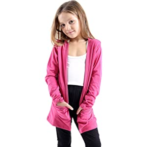 New Kids Girls Boyfriend Open Pocket Long Sleevees Cardigan 7//13 Years AHR LTD