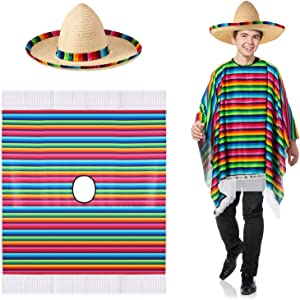 SATINIOR Mexican Serape Poncho Costume Mexican Sombrero with Rainbow Serape Edge and Band (Adult)