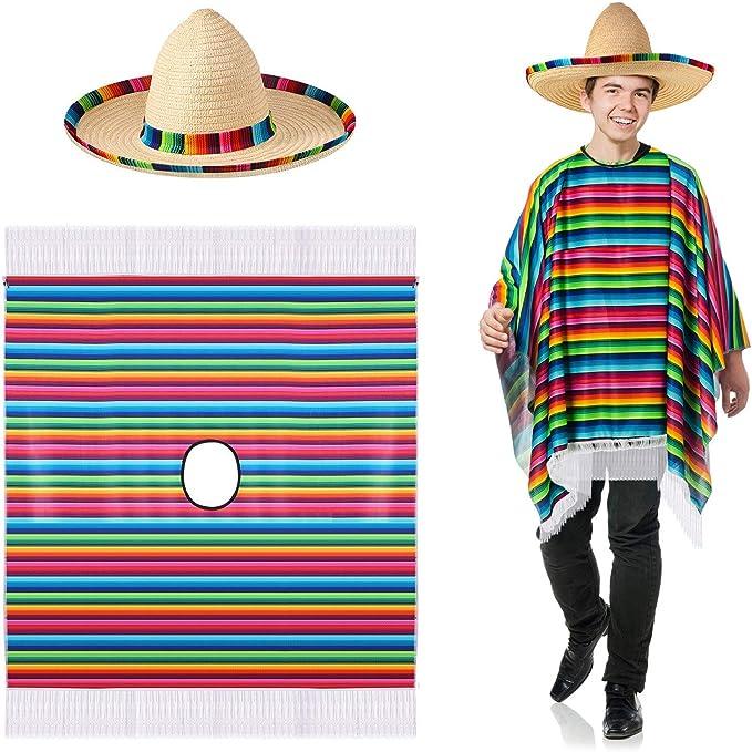 SATINIOR Disfraz de Poncho de Sarape Mexicano Sombrero Mexicano ...