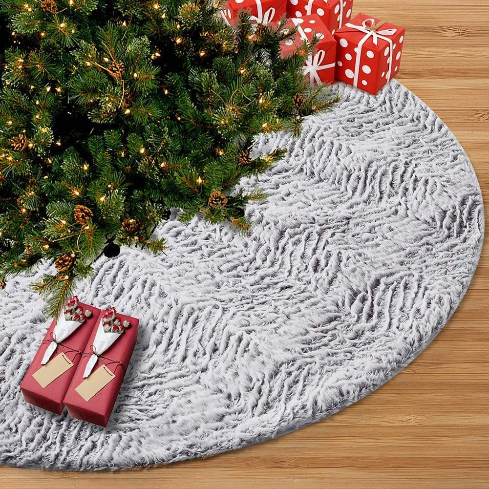 Juegoal 48 Inch Luxury Christmas Tree Skirt Faux Fur Soft Christmas Tree Mat for Xmas Party Decoration, White