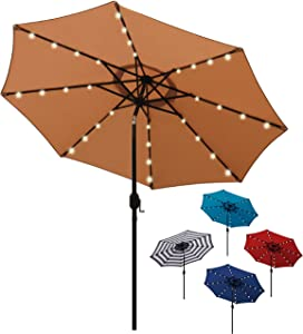 Blissun 9 ft Solar Umbrella, 32 LED Lighted Patio Umbrella, Table Market Umbrella, Outdoor Umbrella for Garden, Deck, Backyard, Pool and Beach (Tan)