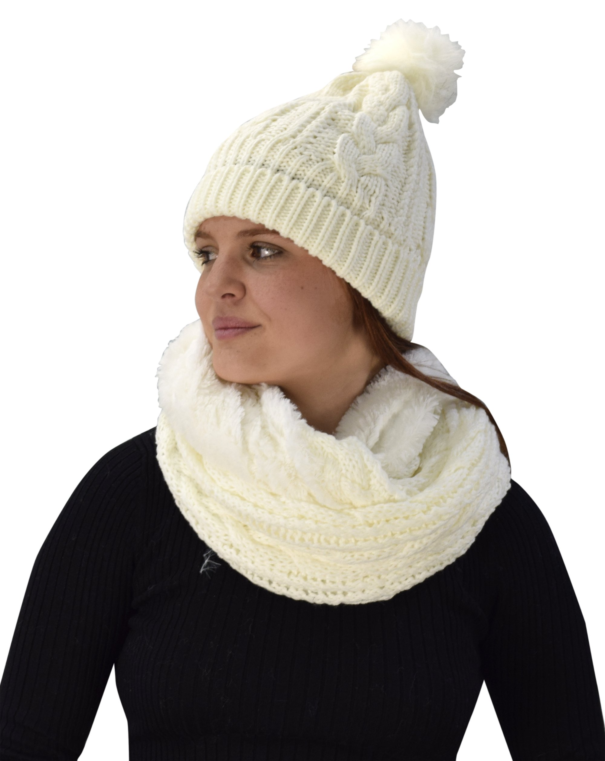 Peach Couture Thick Cable Knit Faux Fur Plush Double Layer Hat Infinity Scarf Set (Cream 97) by Peach Couture