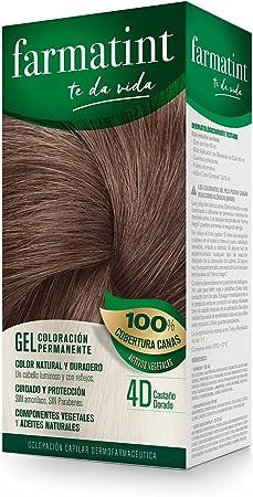 Farmatint Gel 4D Castaño Dorado   Color natural y duradero   Componentes vegetales y aceites naturales   Sin amoníaco   Sin Parabenos   ...