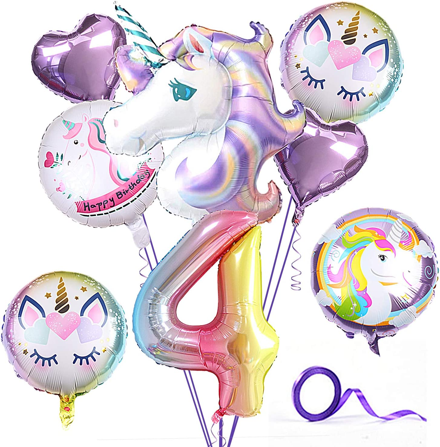 Unicorn Party Birthday Supplies for Kid,Pack of 9 Unicorn Theme purple Balloon for Party,1-5th Birthday Party Decorations,Home Office Decor,gift for baby (4 Years)