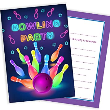 olivia samuel neon bowling party invitations ready to write with