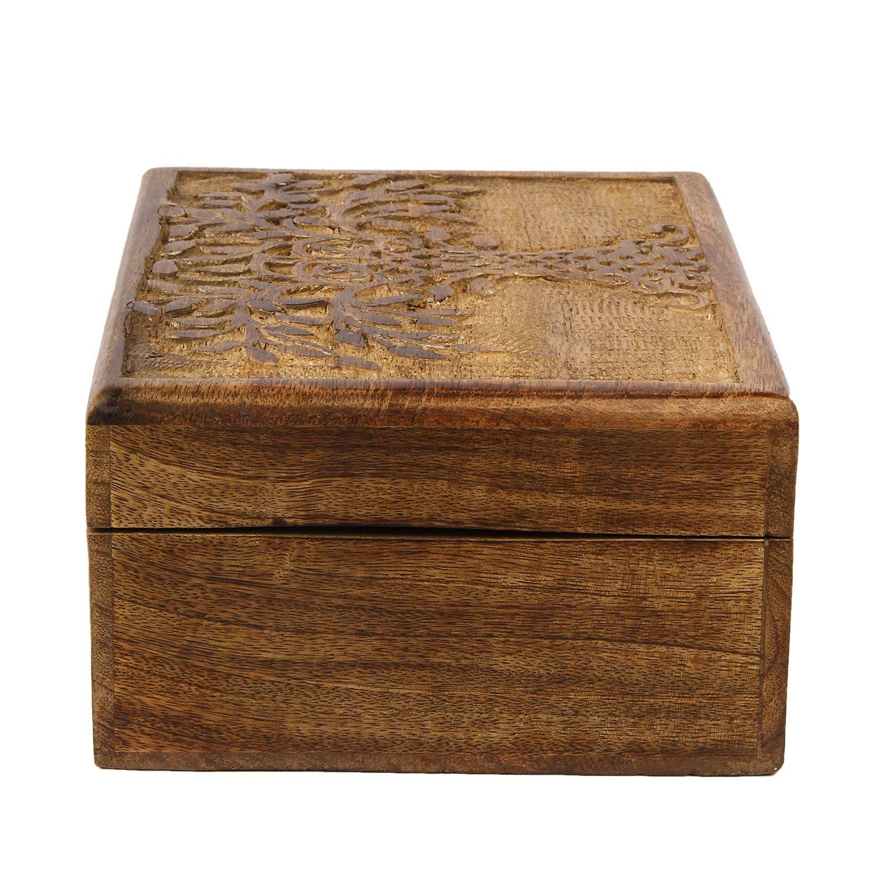 Motif de /« Arbre de Vie /» Bo/îte fabriqu/ée /à la main Bo/îte /à bijoux ou /à breloques Icrafts en bois 21,5 x 16,5 cm