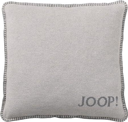 JOOP Federfüllung grau blau Kissen Uni Doubleface Marine-Graphit 50x50cm inkl