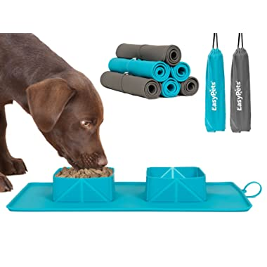EasyPets 'RollaBowl' Travel Portable Roll Up Double Dog Bowls and Pet Feeding Mat for Home, Walks or Camping. For Cats and Dogs