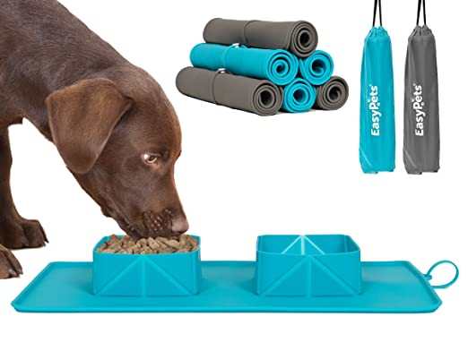 808e83fb0 Amazon.com: EasyPets 'RollaBowl' Travel Portable Roll Up Double Dog Bowls  and Pet Feeding Mat for Home, Walks or Camping. For Cats and Dogs.: Pet  Supplies