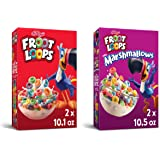 Kellogg's Kids Breakfast Cereal Variety Pack - 2 - Froot Loops and 2 - Froot Loops with Marshmallows, (Pack of 4)