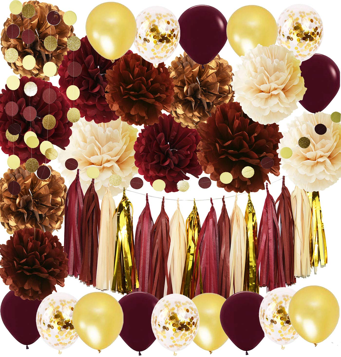 Wine Burgundy Champagne Gold Bridal Shower Decorations/Fall Wedding Decorations Big Size Burgundy Tissue Pom Pom Maroon Gold Balloons Burgundy Wedding/Women 30th/50th Birthday Party Decorations