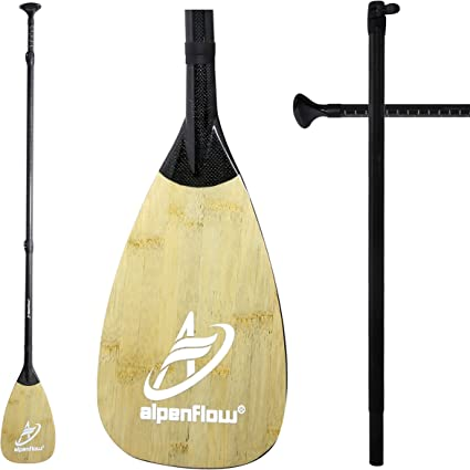 A ALPENFLOW Stand up Paddle Board Paddle Adjustable Carbon Fiber Shaft SUP Paddle 3 Piece Stand Up Paddle for SUP Board with Free Paddle Bag