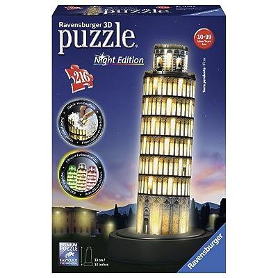 Ravensburger 12521 - Puzzle - 3D - 216 Pièces - Tour de Pise Night Edition