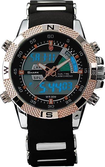 Shark SH045 - Reloj Hombre de Cuarzo, Correa de Goma Negra: Amazon.es: Relojes