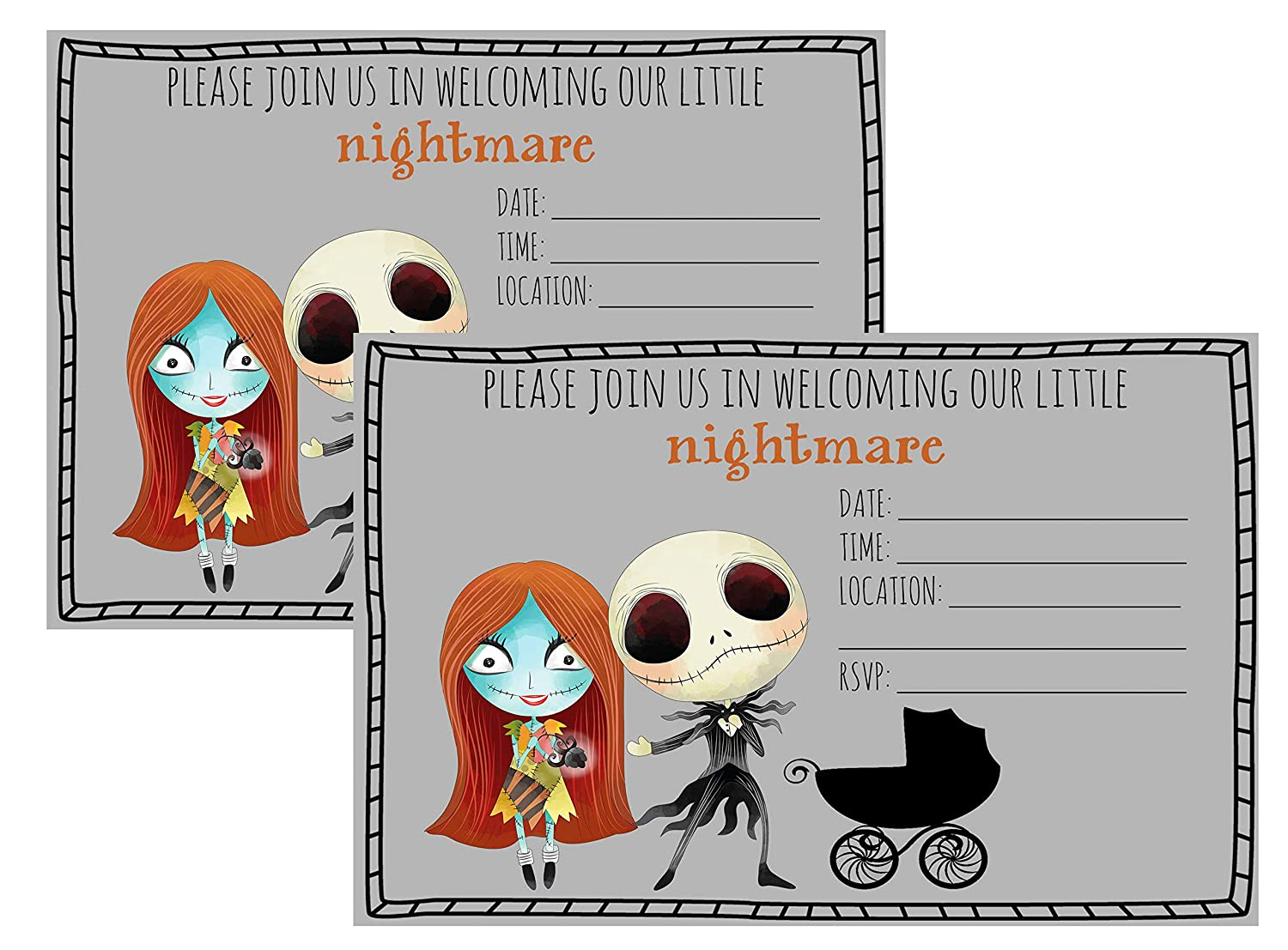 Silly Goose Gifts Nightmare Before Christmas Birthday Party Baby Shower  Invite Decor Supply Stickers Favor (Party Invite)