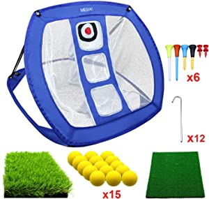 MESIXI Pop Up Golf Chipping Net | Perfect Golf Gifts for Men, Outdoor Indoor Putting Green Golfing Target Accessories Backyard Practice Swing Game with 15 Training Balls and Two Hitting Mats