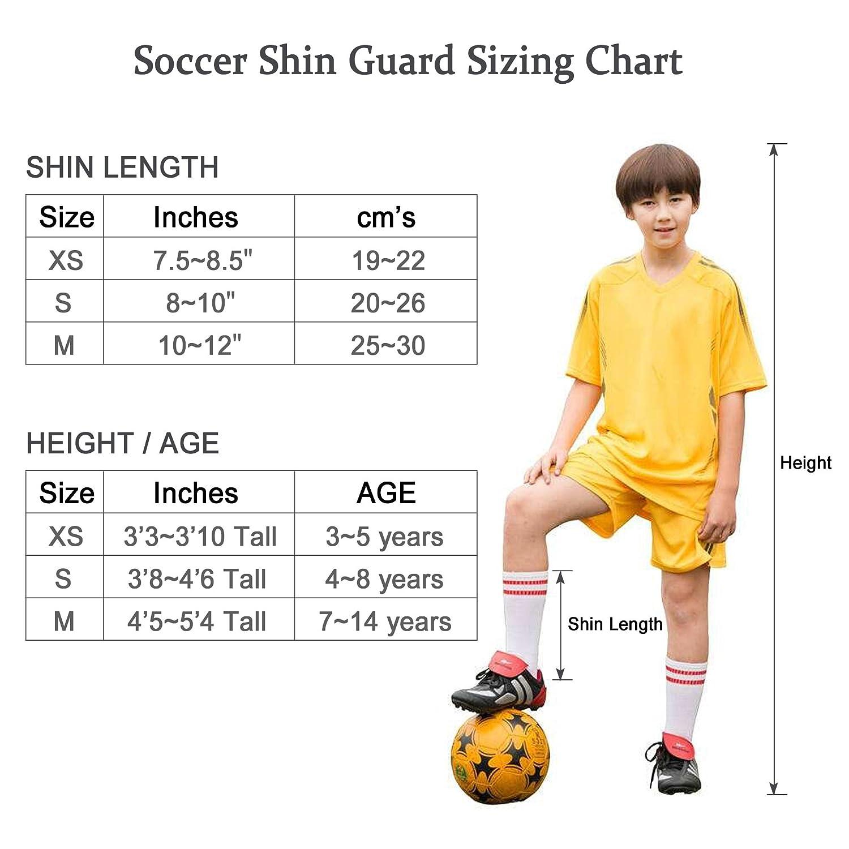 Equipo de f/útbol para ni/ños con protecci/ón para Mangas de Tobillo Tagvo Soccer Shin Guards Talles para j/óvenes Child Soccer Shin Pastillas para ni/ños Chicas