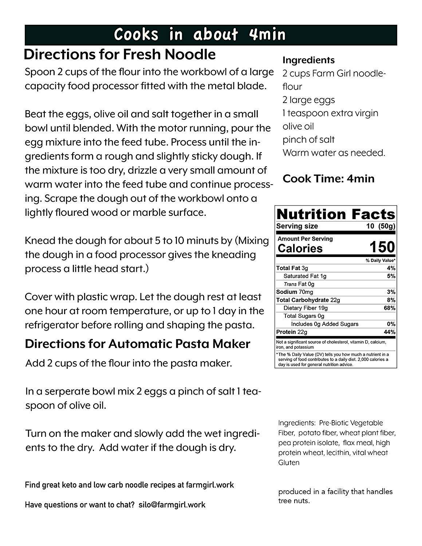 Farm Girl: mezcla de pasta baja en carbohidratos de 17.64 oz ...