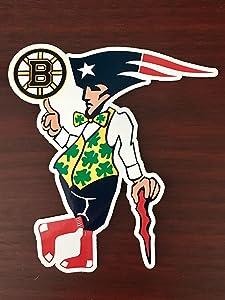 "Boston Guy Sports Teams Patriots Celtics Red Sox Bruins Mash Up Laptop iPad Car Window Vinyl Sticker Decal"" Buy 3 get 1 Free!"""