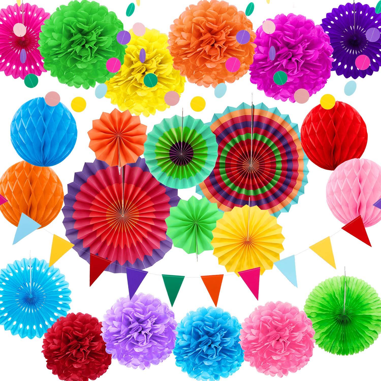 Zhanmai 25 Piezas Adornos de Fiesta Tem/ática Mexicana Abanicos de Papel Pompones Guirnalda de Flores Banderines de Tri/ángulo Materiales de Fiesta de Arcoiris Bolas de Panal