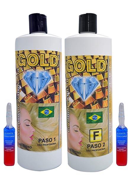 Cirugia Capilar Gold Diamond Brillo de Oro Nueva Formula (Shampoo Incluido) + 2 Ampollas
