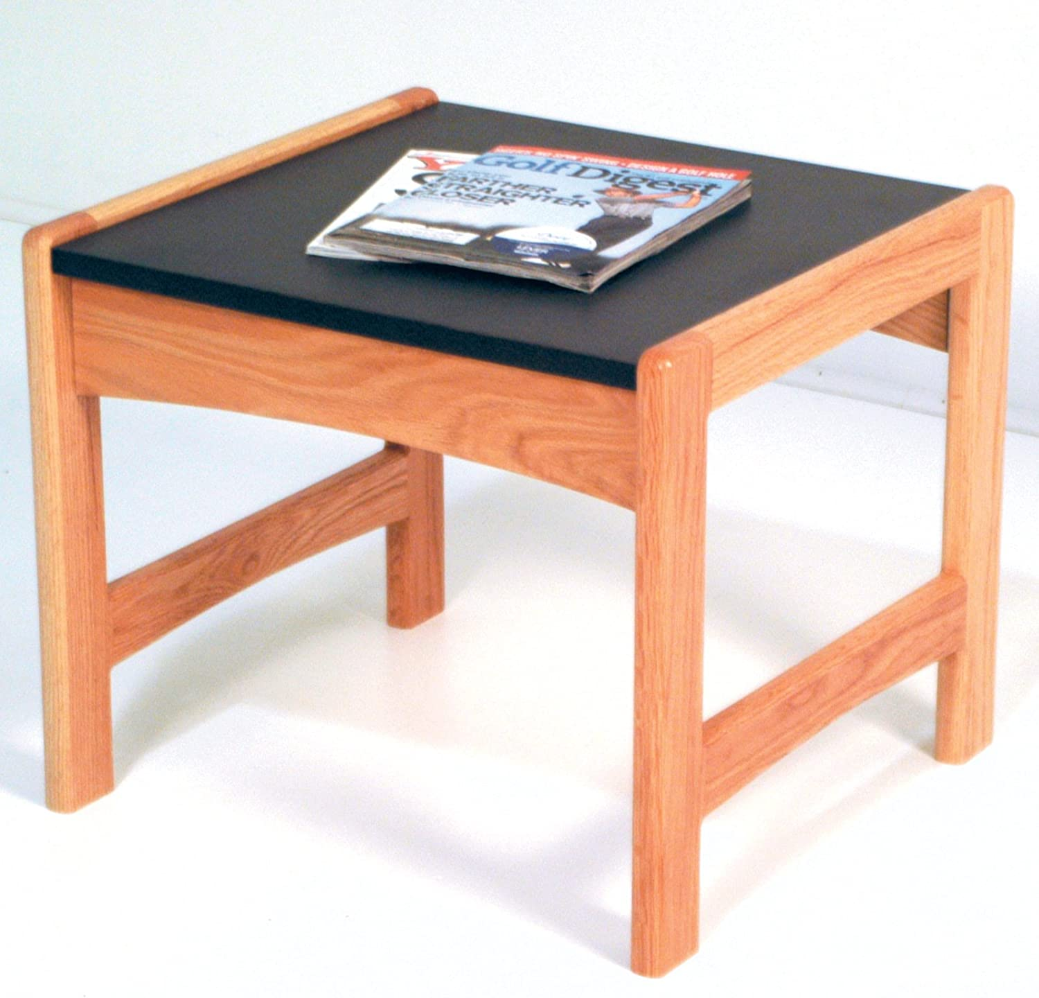 Wooden Mallet End Table with Black Granite Look Top, Light Oak