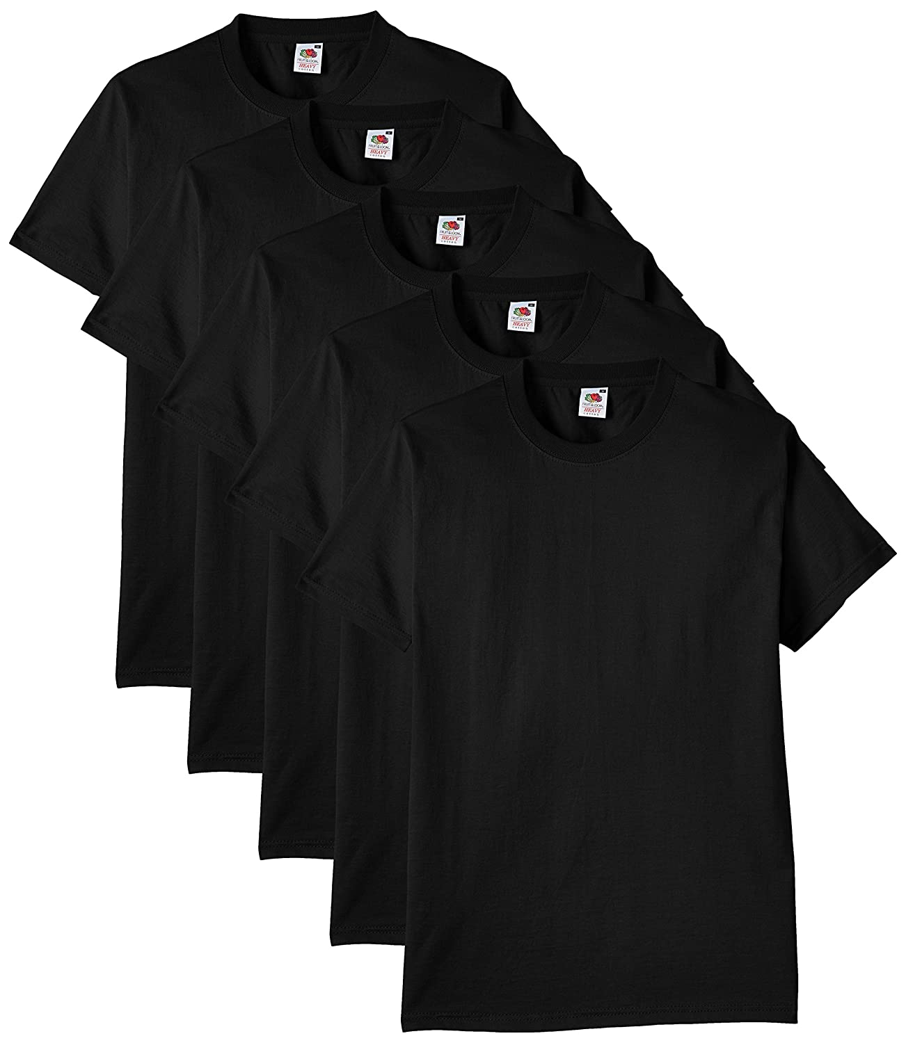 Black t shirt with white collar - Fruit Of The Loom Men S Heavy Cotton 5 Pack Regular Fit Round Collar Short Sleeve T Shirt Amazon Co Uk Clothing