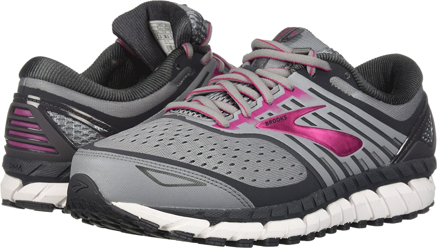 Brooks Womens Ariel '18 B077T67DG5 7 D US|Grey/Grey/Pink