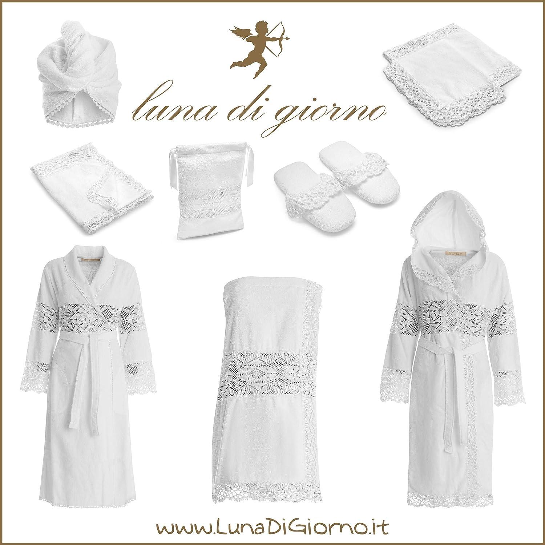 Bianco M//L Luna di Giorno Pizzo Accappatoio Cappuccio 100/% Cotone