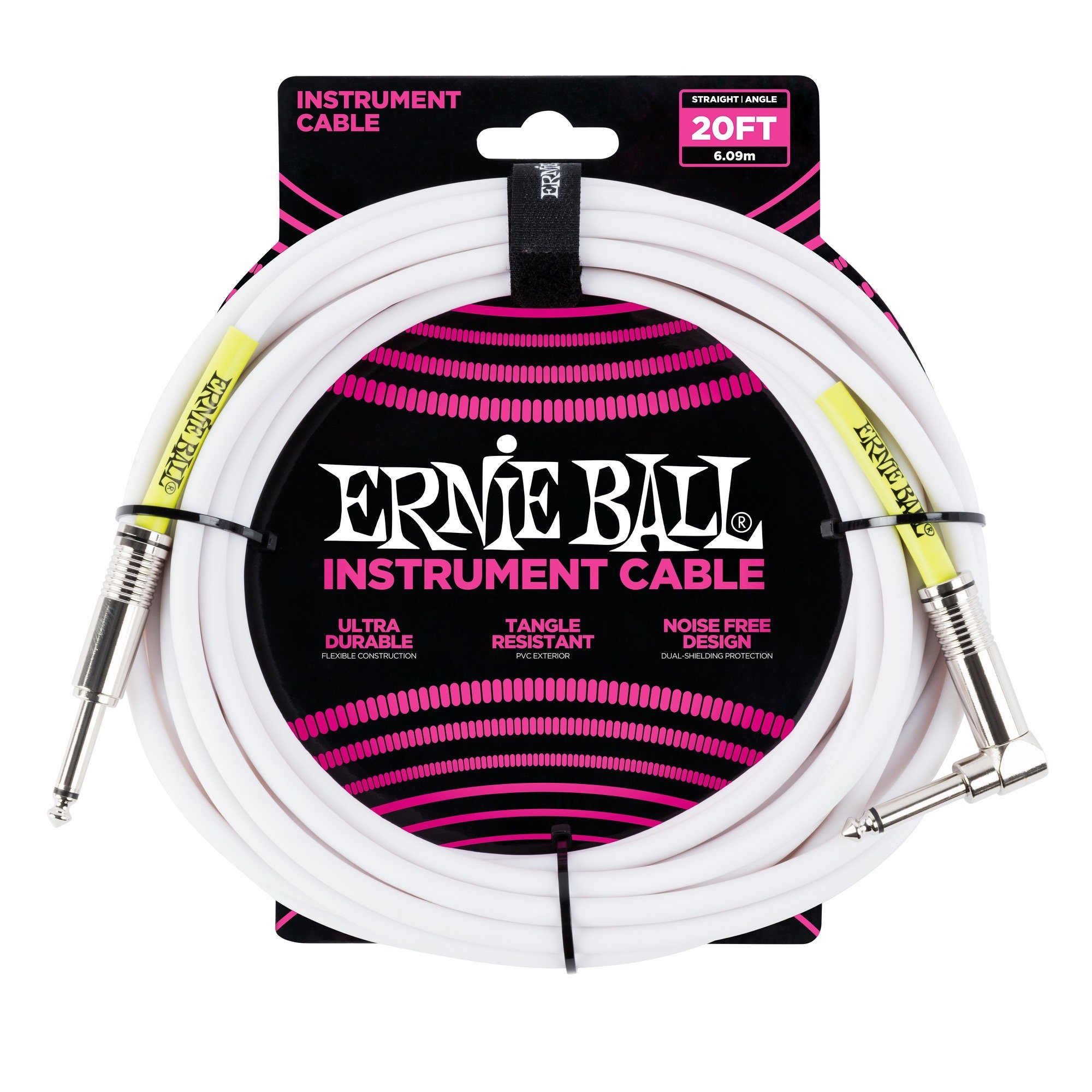 Ernie Ball 20' Straight / Angle Instrument Cable - White