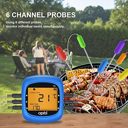 Oprol Bluetooth Meat Thermometer with 6 Stainless Steel Probes