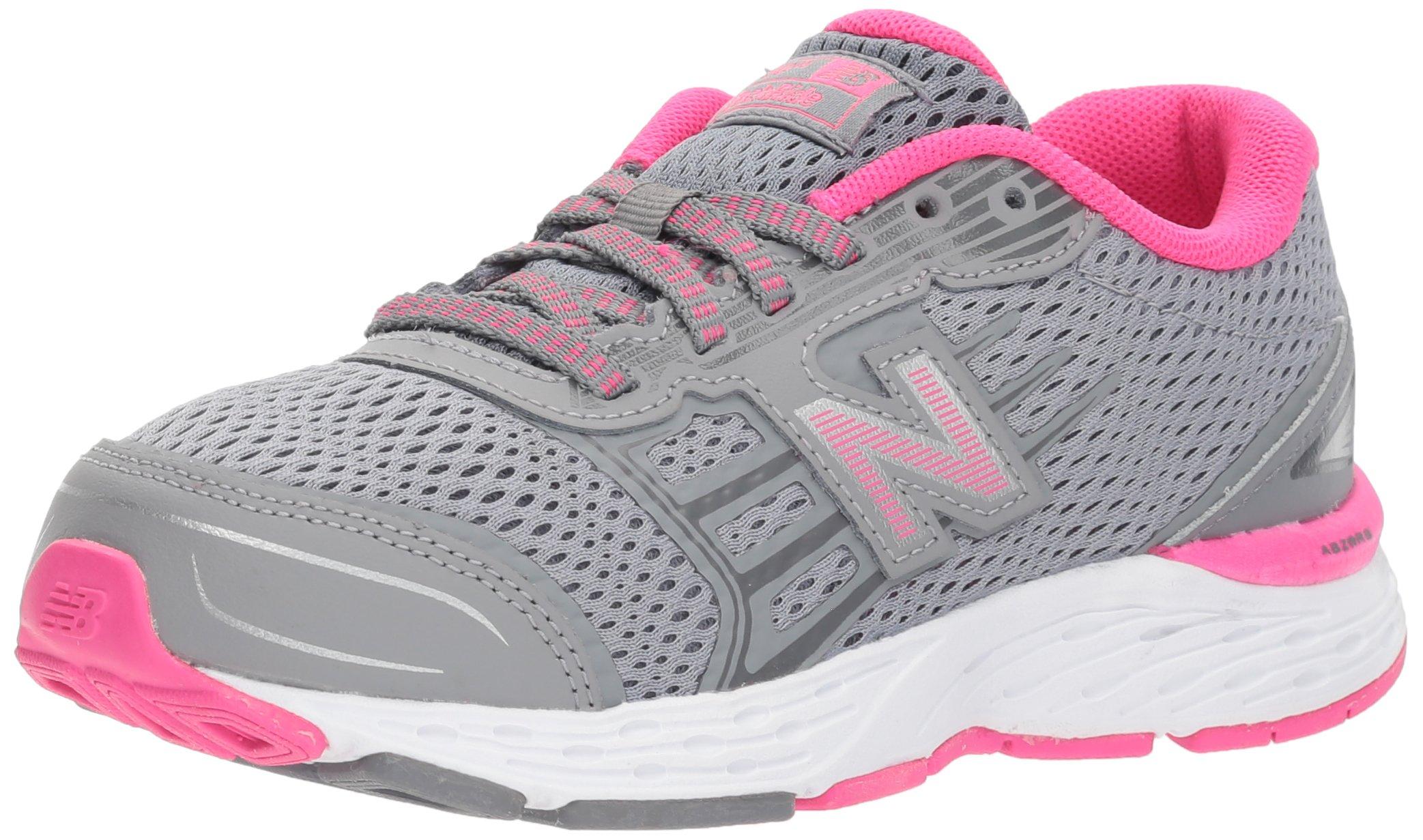 New Balance Girls' 680v5 Running Shoe, Steel/Pink Glo, 2 M US Little Kid