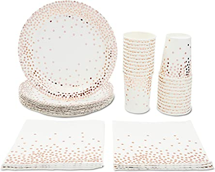 Amazon Com Rose Gold Confetti Party Bundle Includes Paper Plates Cups And Napkins 24 Guests 72 Pieces Kitchen Dining