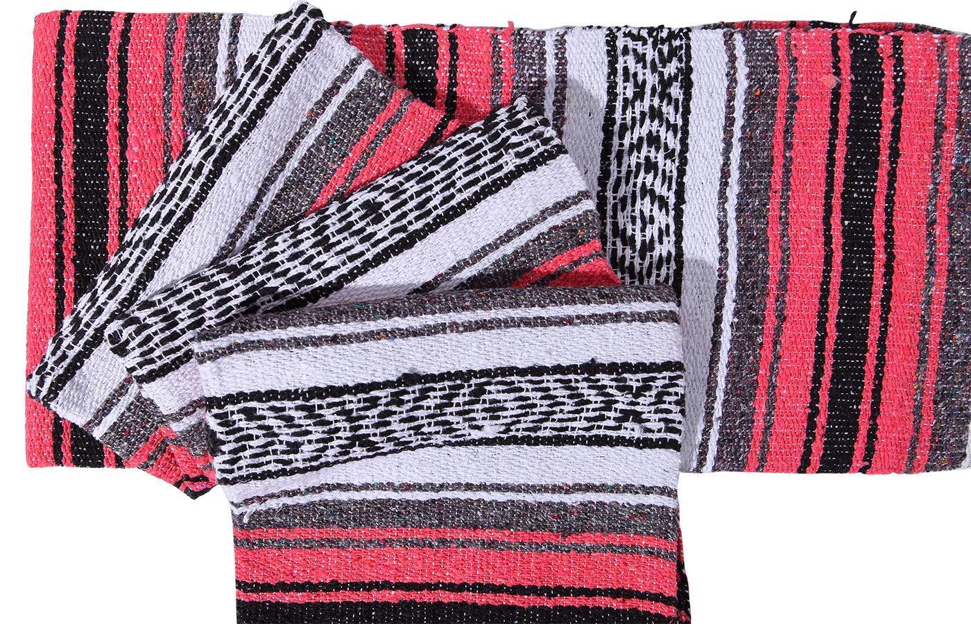 El Paso Designs Genuine Mexican Falsa Blanket - Yoga Studio Blanket, Colorful, Soft Woven Serape Imported from Mexico (Bright Coral) by El Paso Designs (Image #4)