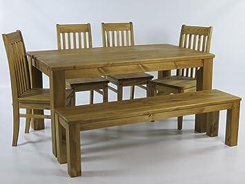 Sitzgruppe Garnitur Mit Esstisch 140x90cm 4 Stuhle Klassic 1