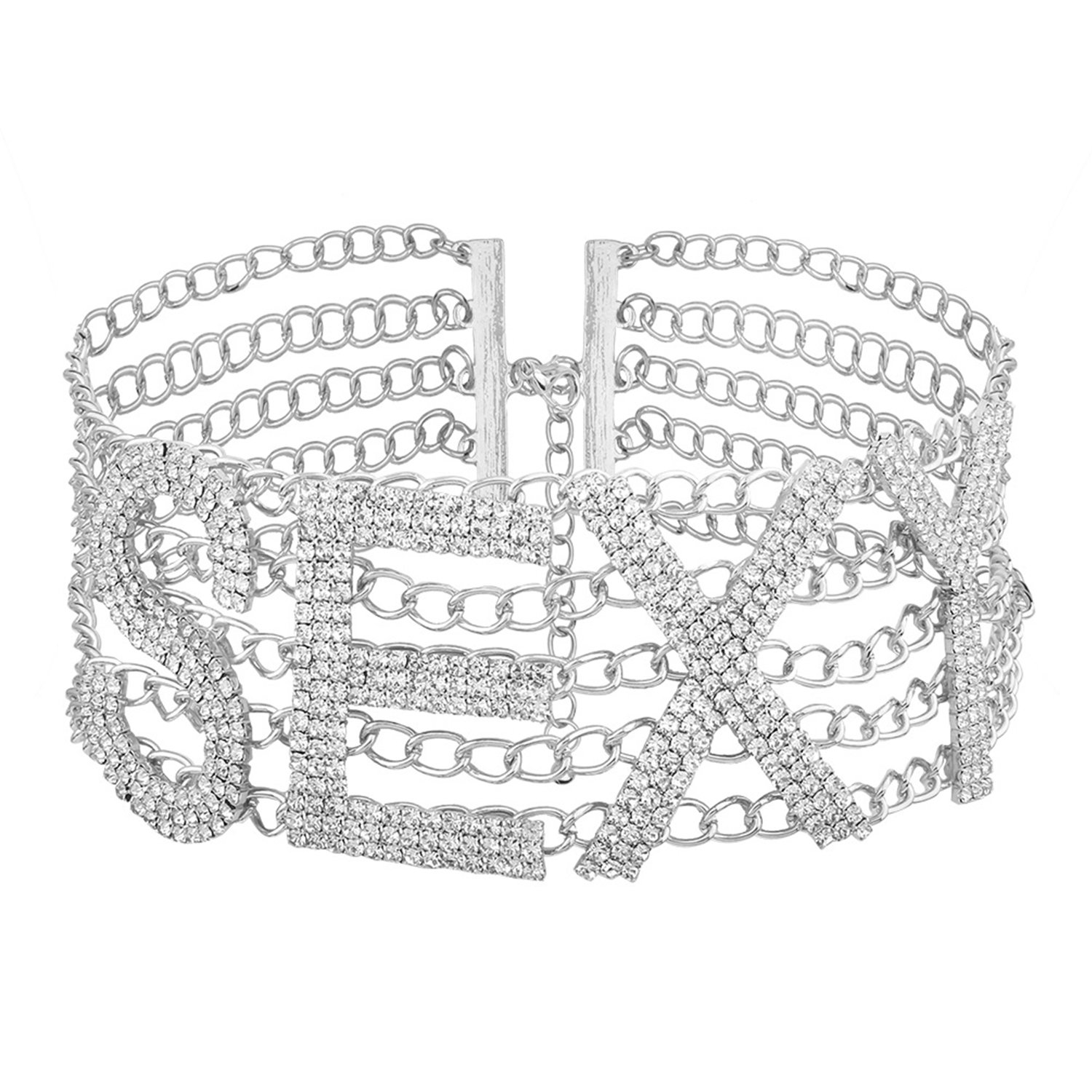 Croozy Womens SEXY Rhinestone Choker Girls Crystal Letter Choker Necklace Bride Collar Party Choker Necklace (Silver)