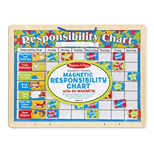 "Melissa & Doug Magnetic Responsibility Chart, Developmental Toy, Encourages Good Behavior, 89 Pieces, 15.6"" H x 11.7"" W x 1.2"" L"