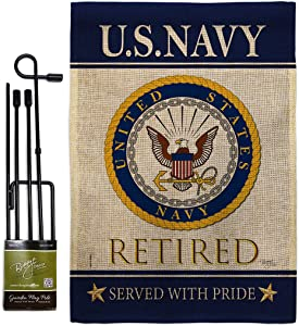 US Navy Retired Burlap Garden Flag Set with Stand Armed Forces USN Seabee United State American Military Veteran Retire Official Small Gift Yard House Banner Double-Sided Made In USA 13 X 18.5