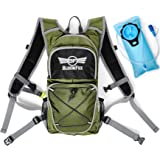 Hydration Backpack with 2L Water Bladder – Outdoor Pack for Running Camping Cycling Travel - Rucksack for Men Women Kids - Rain Cover included