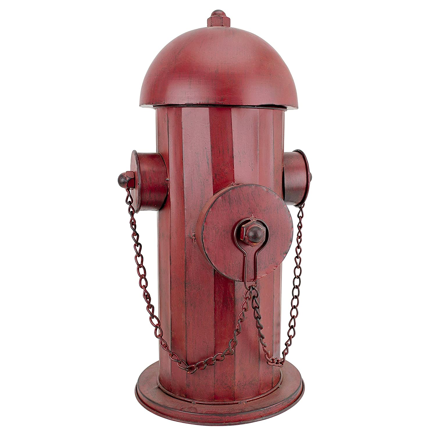 Design Toscano Fire Hydrant Statue Puppy Pee Post and Pet Storage Container, Medium 18 Inch, Metalware, Full Color