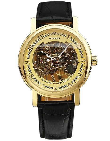 Winner – Funda ultra thin oro correa de piel relojes hombres mujeres esqueleto mecánico de regalo