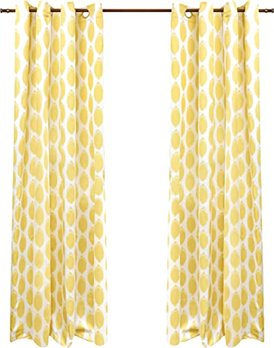 DriftAway Allen Ikat Polka Dot Room Darkening and Thermal Insulated Grommet Unlined Window Curtains Set of 2 Panels 52 Inch by 96 Inch Yellow