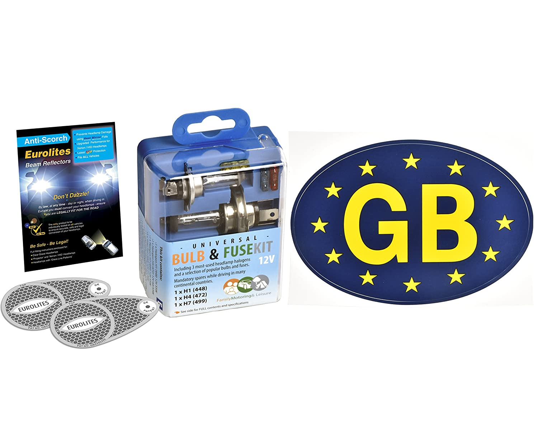 Travel Car Spare Bulb & Fuse Kit & Blue GB Sticker & Eurolites Headlamp Beam Convertors Family Motoring & Leisure
